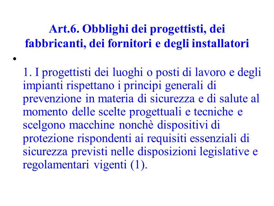 Art.6. Obblighi dei progettisti, dei fabbricanti, dei fornitori e degli installatori