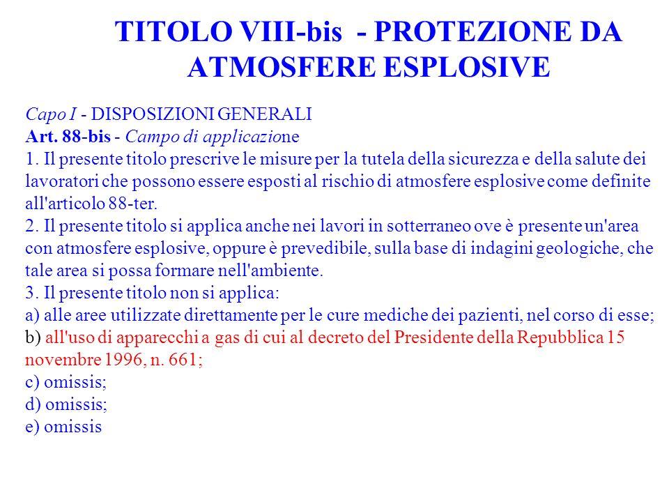 TITOLO VIII-bis - PROTEZIONE DA ATMOSFERE ESPLOSIVE