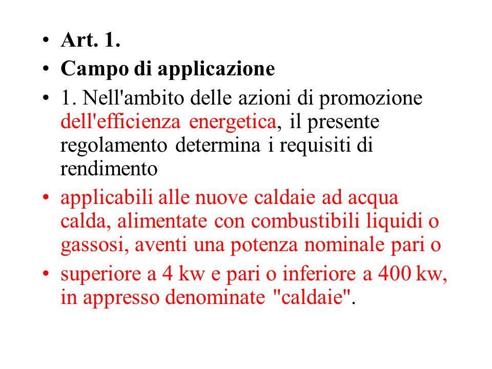 Art. 1. Campo di applicazione.