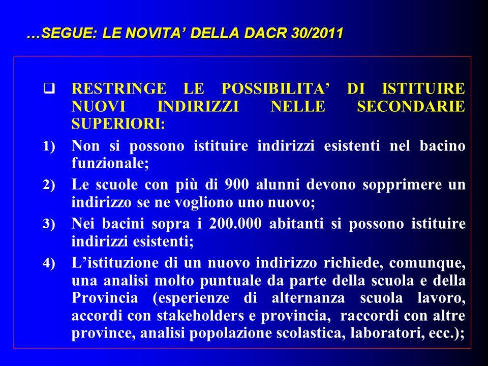 …SEGUE: LE NOVITA' DELLA DACR 30/2011