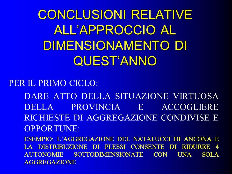 CONCLUSIONI RELATIVE ALL'APPROCCIO AL DIMENSIONAMENTO DI QUEST'ANNO