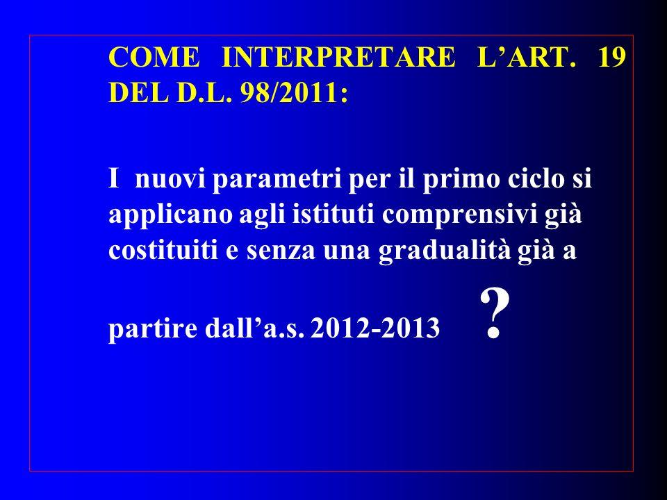 COME INTERPRETARE L'ART. 19 DEL D.L. 98/2011: