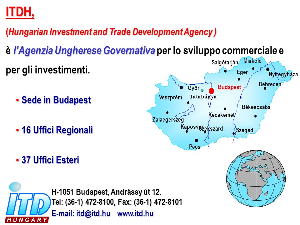 ITDH, (Hungarian Investment and Trade Development Agency ) è l'Agenzia Ungherese Governativa per lo sviluppo commerciale e per gli investimenti.