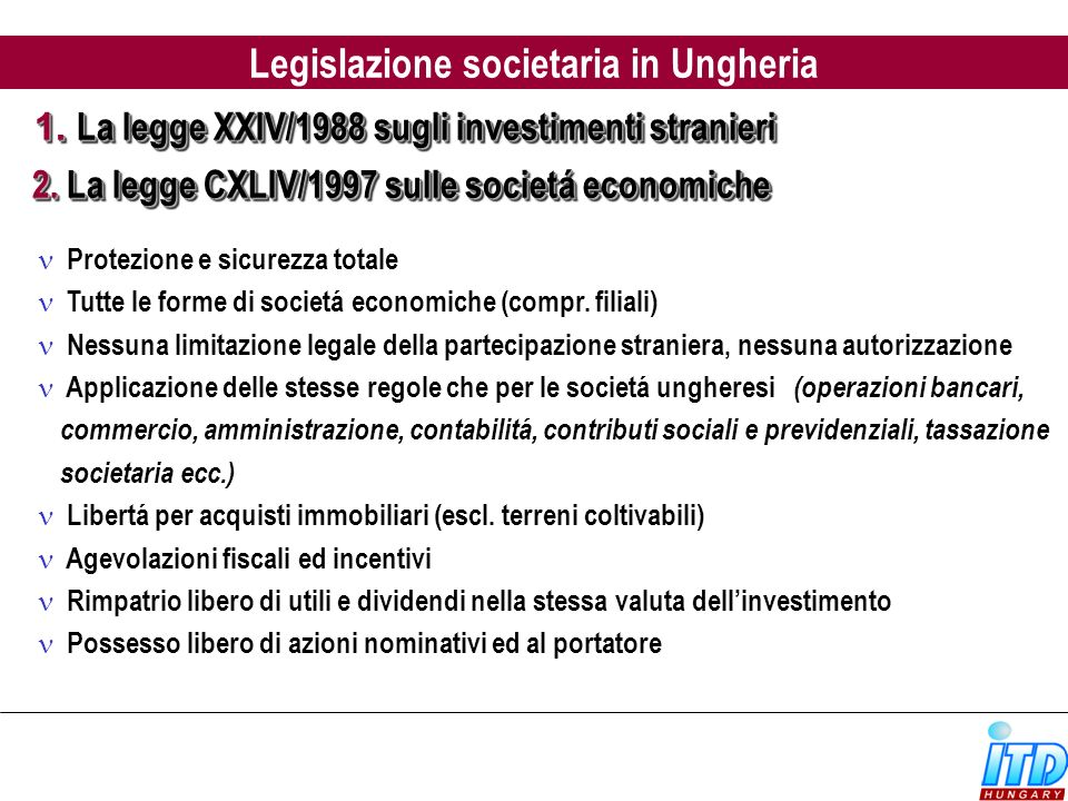 Legislazione societaria in Ungheria