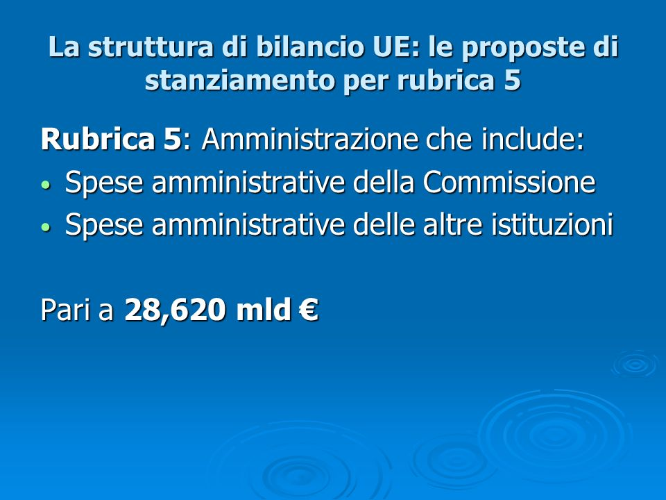La struttura di bilancio UE: le proposte di stanziamento per rubrica 5