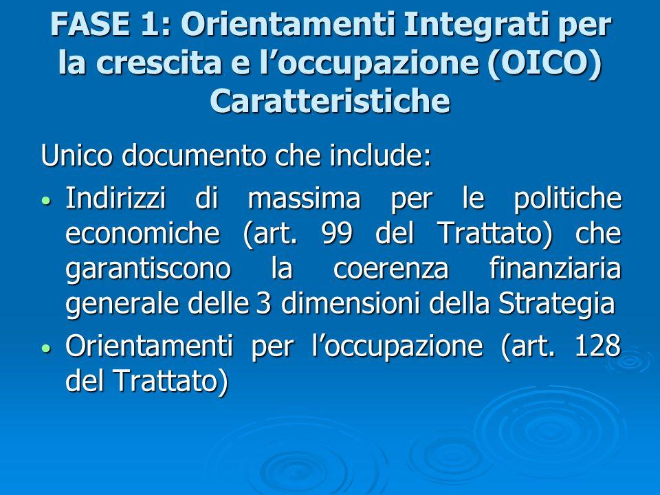 FASE 1: Orientamenti Integrati per la crescita e l'occupazione (OICO) Caratteristiche