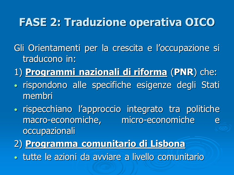 FASE 2: Traduzione operativa OICO