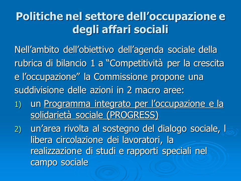 Politiche nel settore dell'occupazione e degli affari sociali