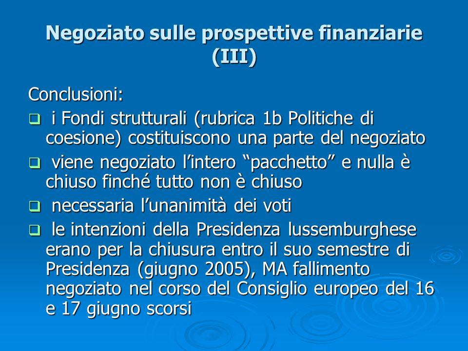 Negoziato sulle prospettive finanziarie (III)