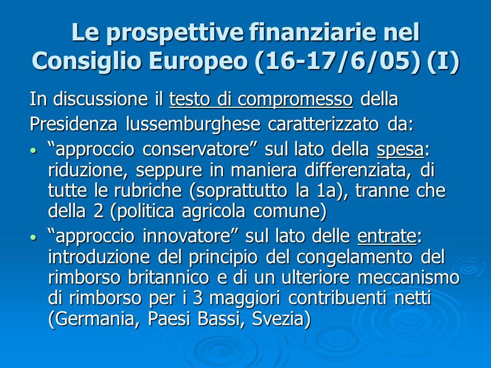 Le prospettive finanziarie nel Consiglio Europeo (16-17/6/05) (I)