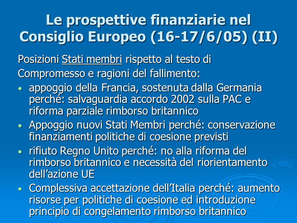 Le prospettive finanziarie nel Consiglio Europeo (16-17/6/05) (II)