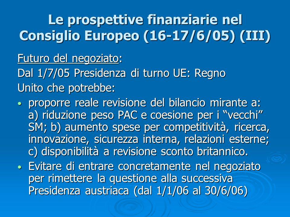 Le prospettive finanziarie nel Consiglio Europeo (16-17/6/05) (III)