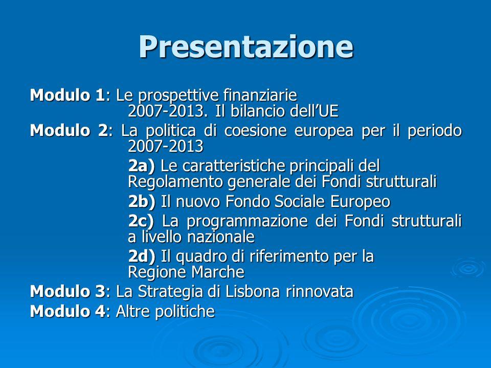 Presentazione Modulo 1: Le prospettive finanziarie 2007-2013. Il bilancio dell'UE.