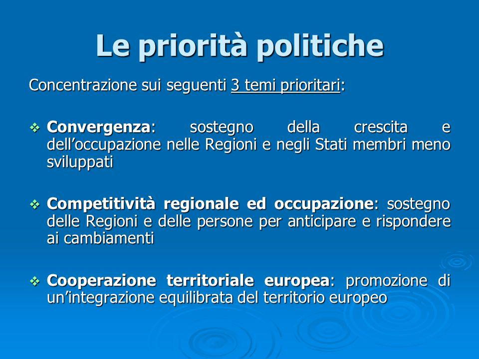 Le priorità politiche Concentrazione sui seguenti 3 temi prioritari: