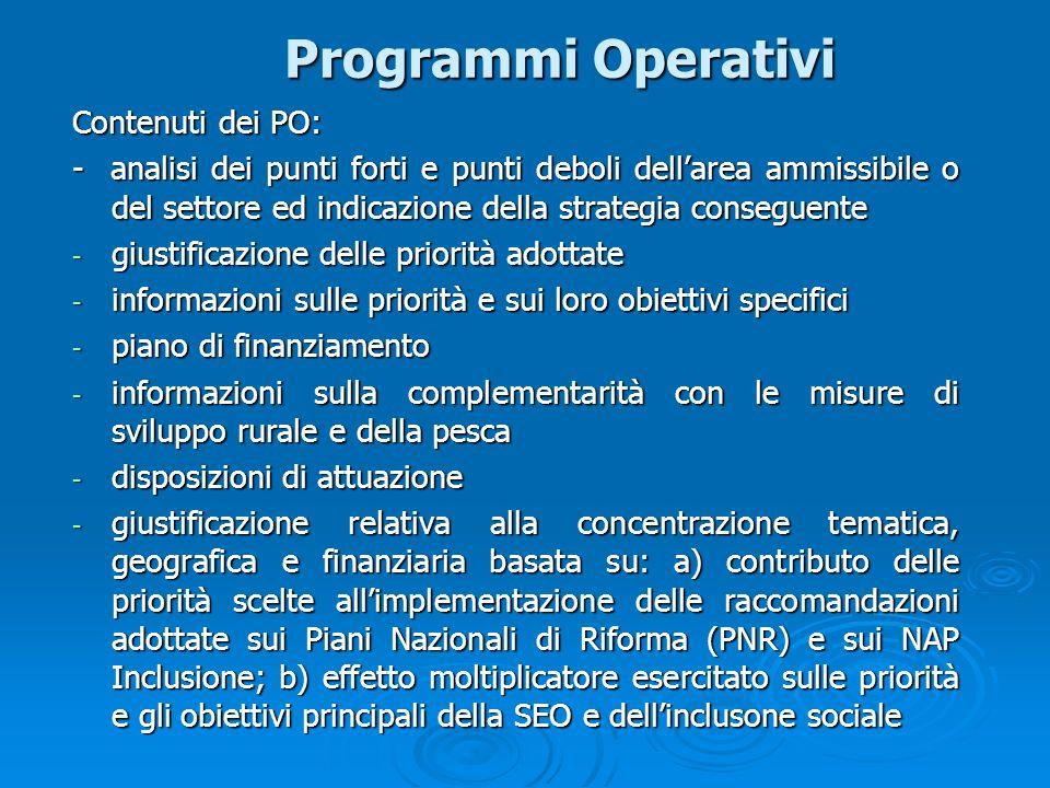 Programmi Operativi Contenuti dei PO: