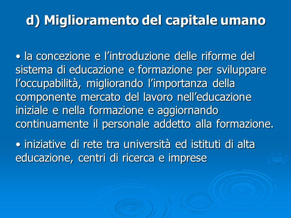 d) Miglioramento del capitale umano