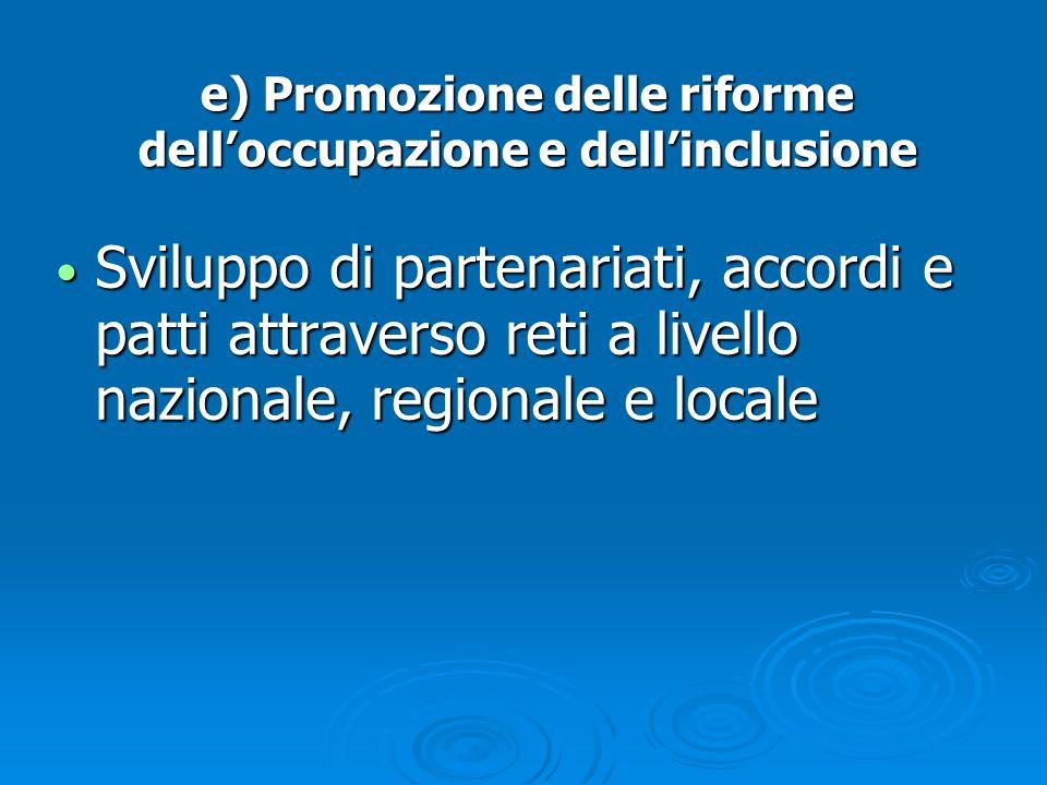 e) Promozione delle riforme dell'occupazione e dell'inclusione