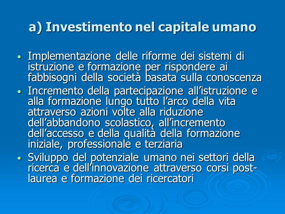 a) Investimento nel capitale umano