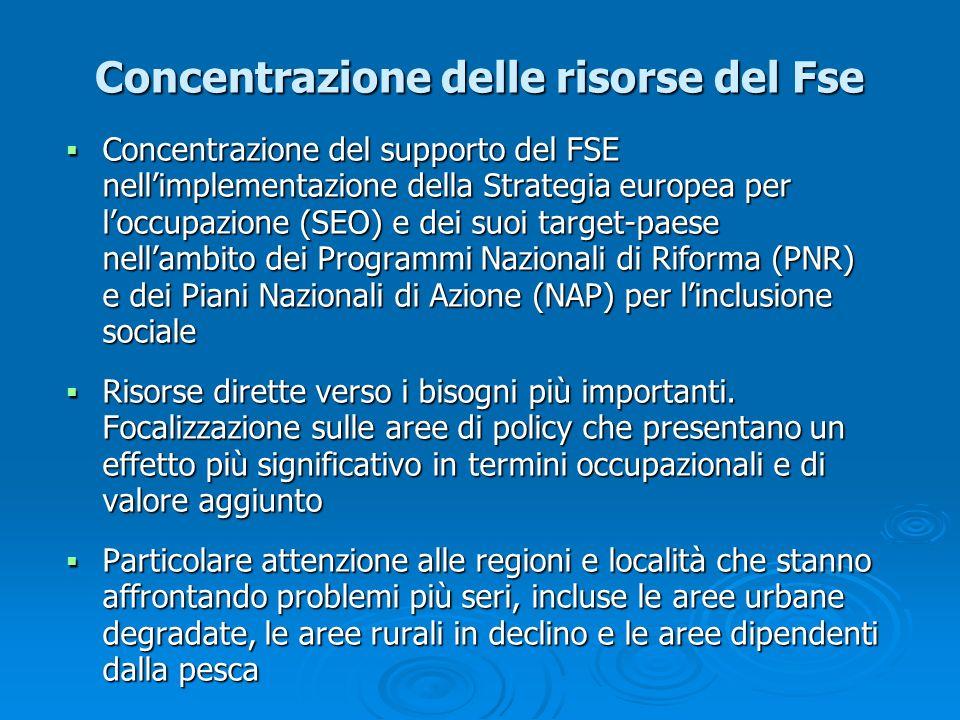 Concentrazione delle risorse del Fse