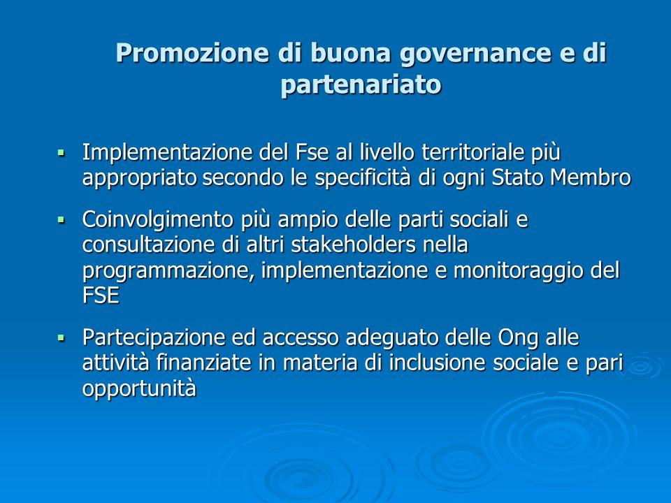 Promozione di buona governance e di partenariato