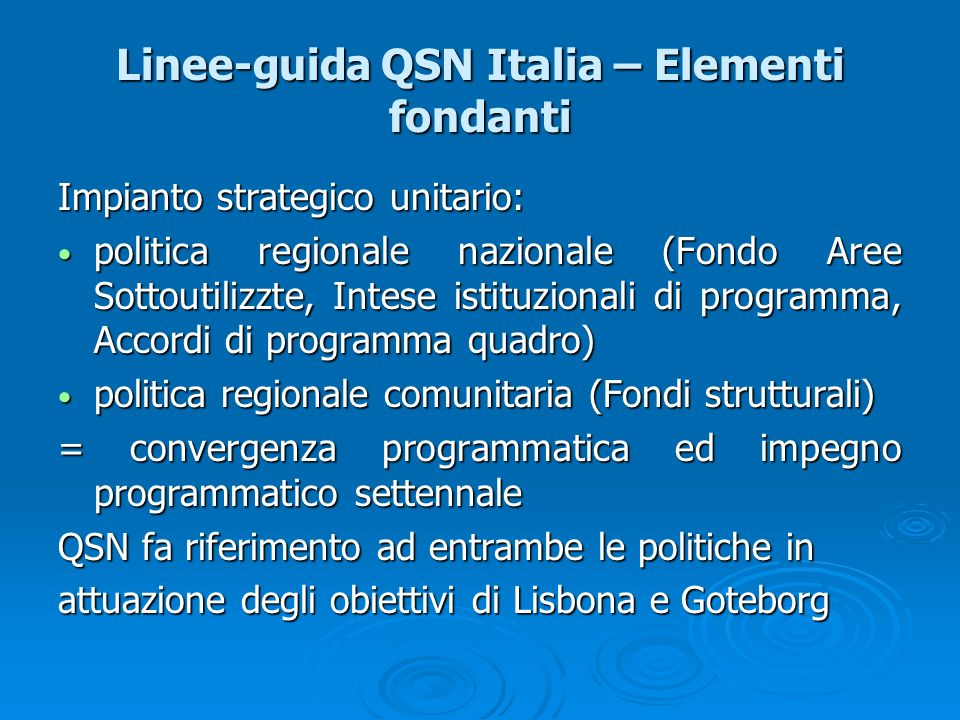 Linee-guida QSN Italia – Elementi fondanti