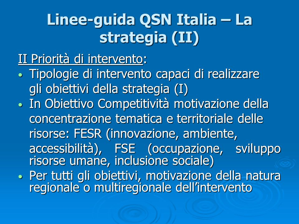 Linee-guida QSN Italia – La strategia (II)
