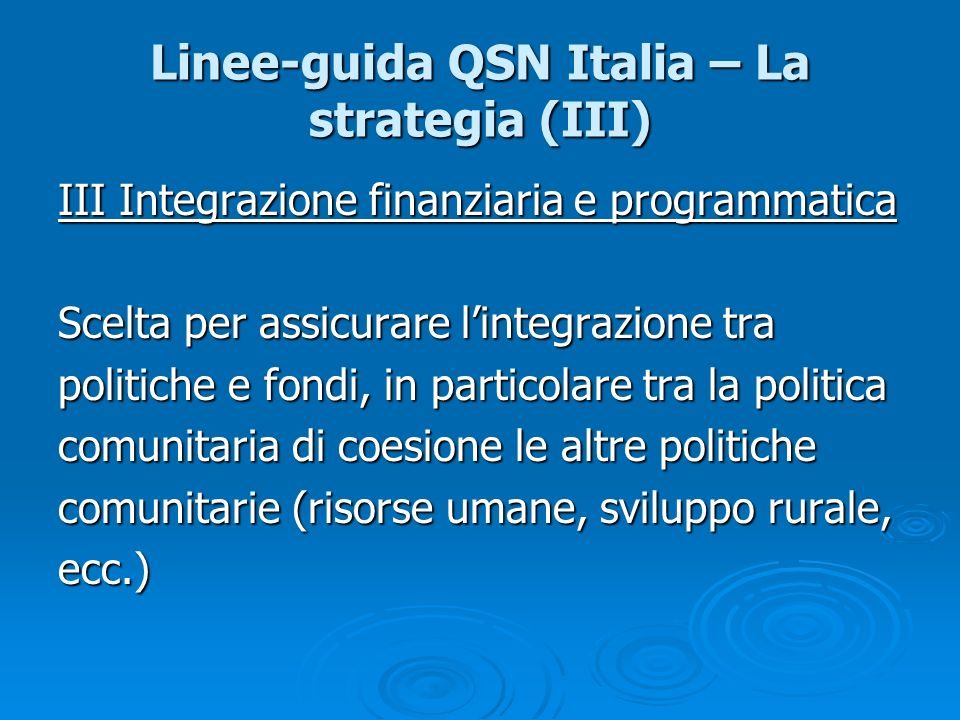 Linee-guida QSN Italia – La strategia (III)