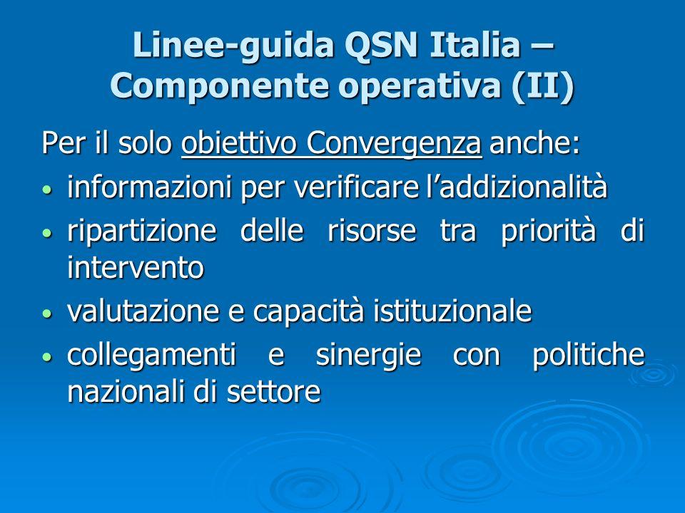 Linee-guida QSN Italia – Componente operativa (II)