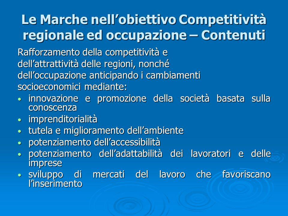 Le Marche nell'obiettivo Competitività regionale ed occupazione – Contenuti