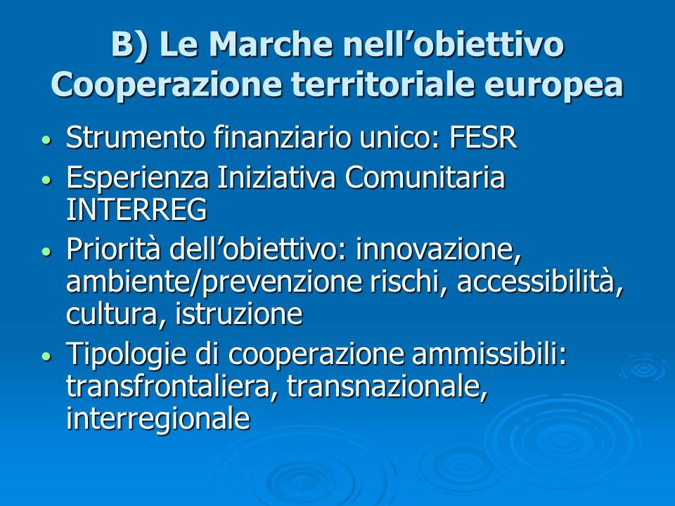 B) Le Marche nell'obiettivo Cooperazione territoriale europea