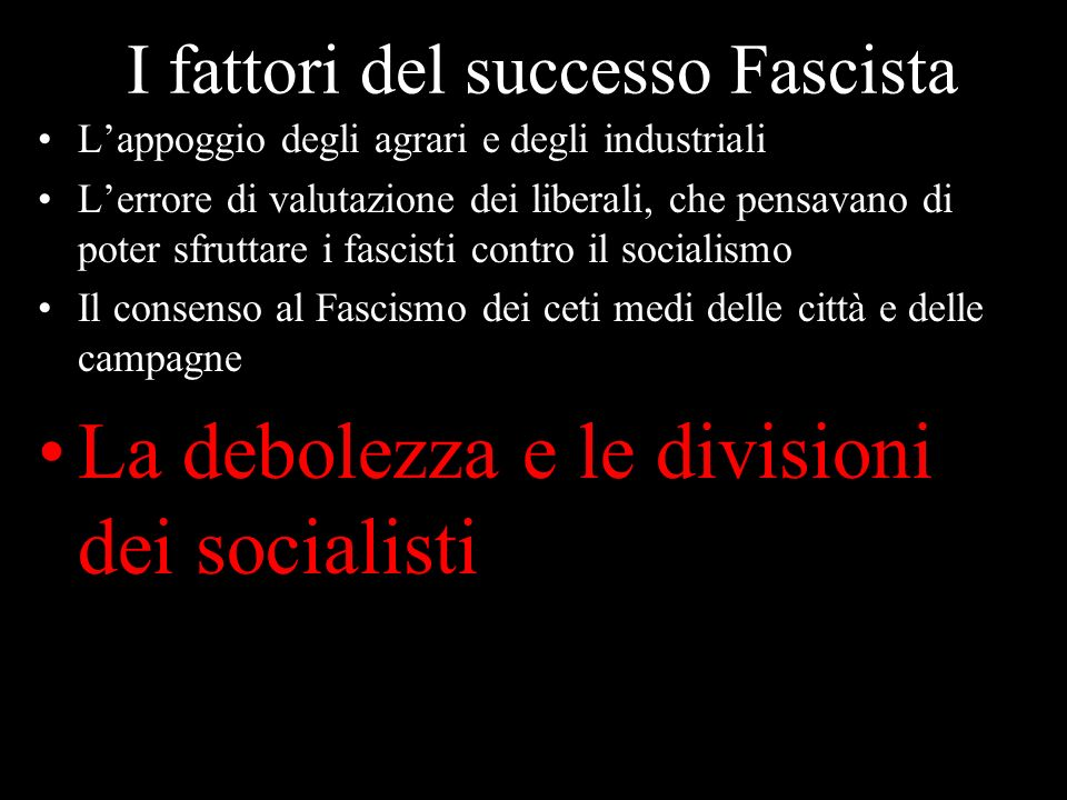I fattori del successo Fascista