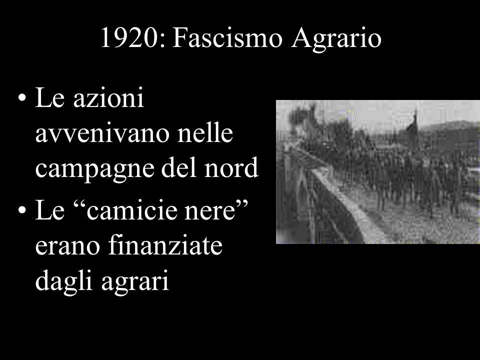 1920: Fascismo Agrario Le azioni avvenivano nelle campagne del nord.