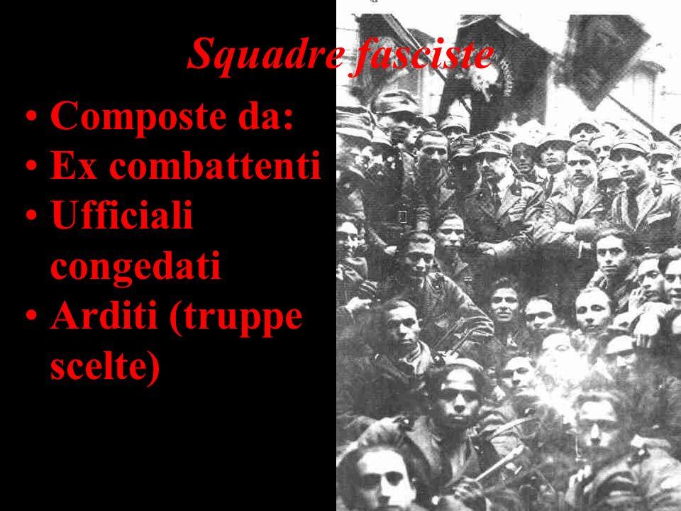 Squadre fasciste Composte da: Ex combattenti Ufficiali congedati