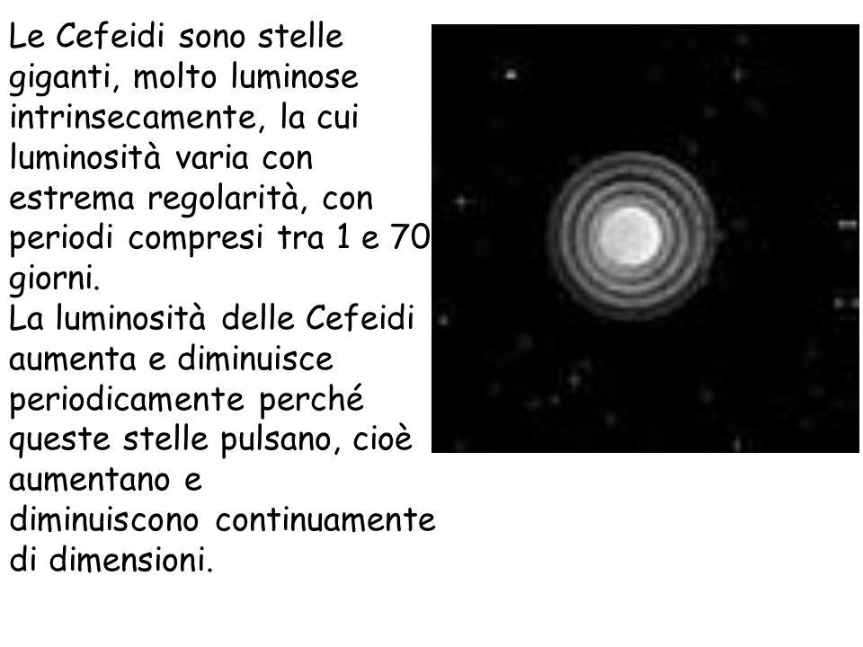 Le Cefeidi sono stelle giganti, molto luminose intrinsecamente, la cui