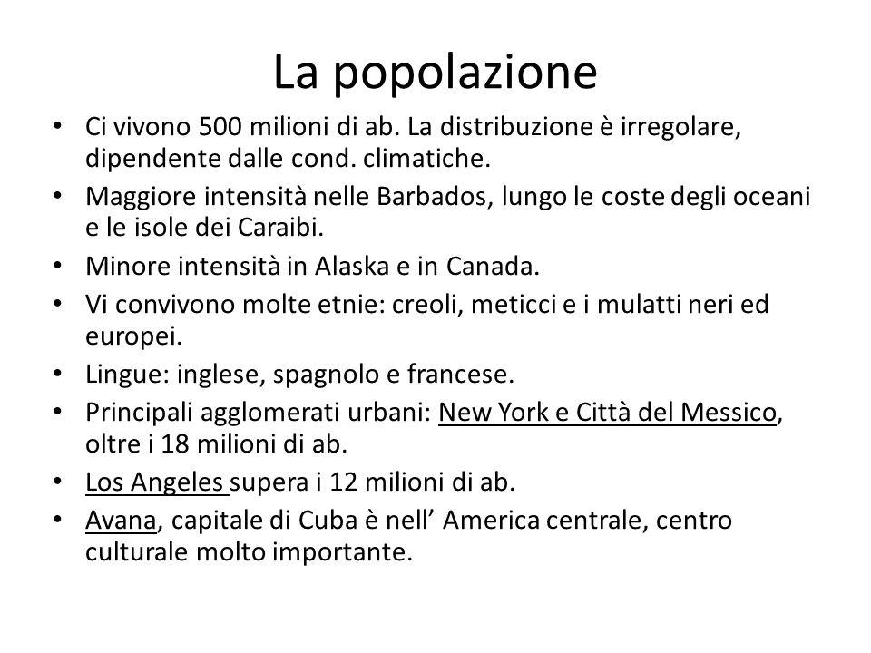 La popolazione Ci vivono 500 milioni di ab. La distribuzione è irregolare, dipendente dalle cond. climatiche.