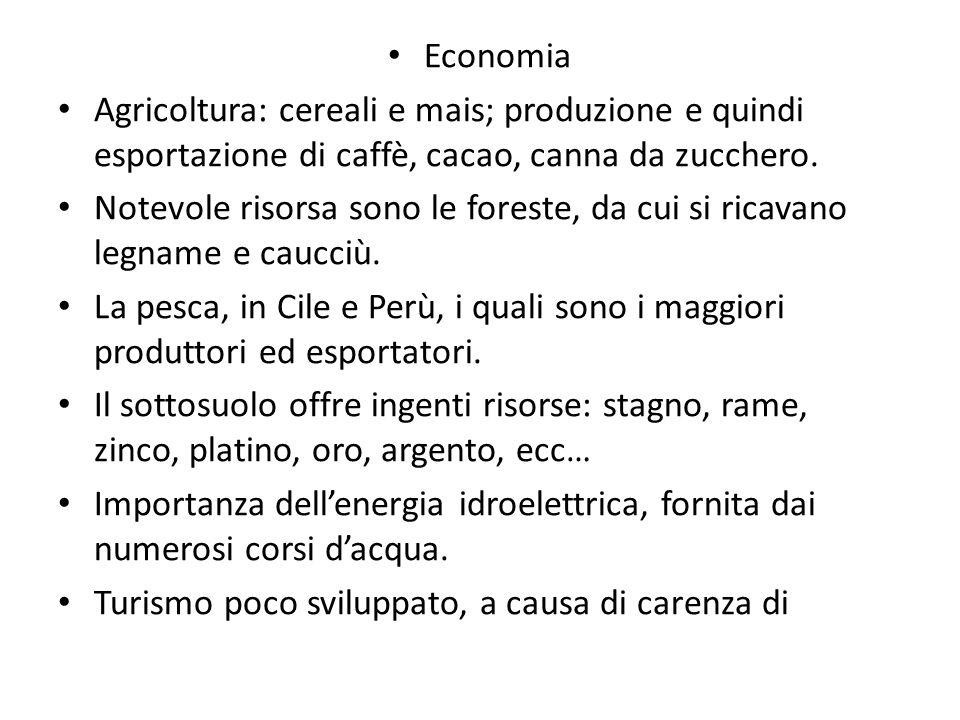 Economia Agricoltura: cereali e mais; produzione e quindi esportazione di caffè, cacao, canna da zucchero.