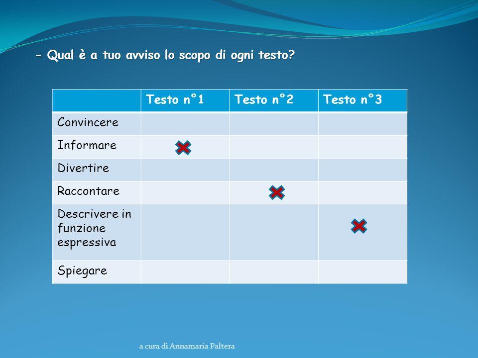 - Qual è a tuo avviso lo scopo di ogni testo Testo n°1 Testo n°2