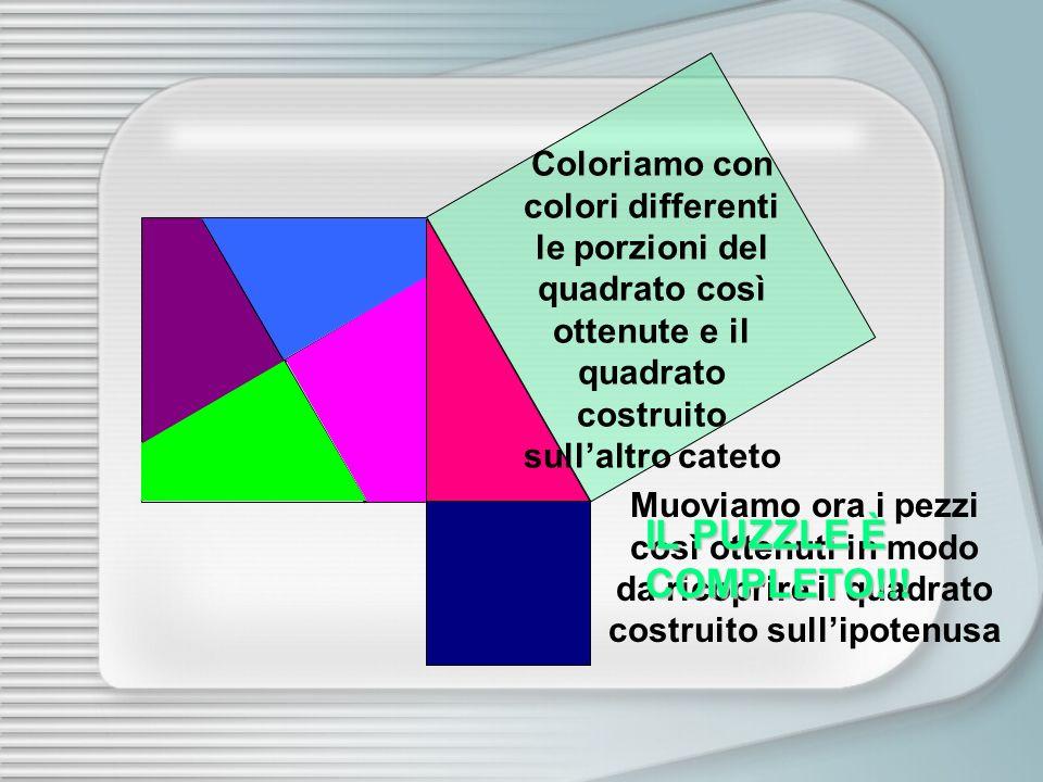 Coloriamo con colori differenti le porzioni del quadrato così ottenute e il quadrato costruito sull'altro cateto