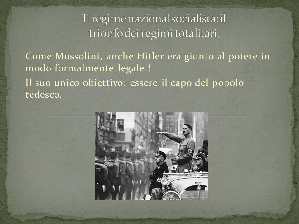 Il regime nazional socialista: il trionfo dei regimi totalitari.