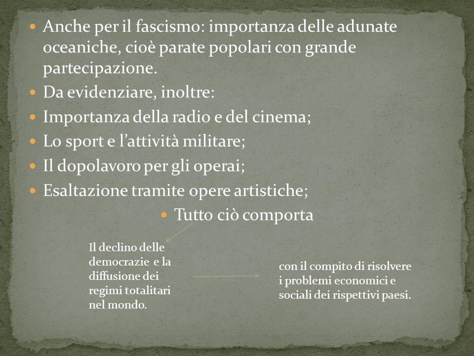 Da evidenziare, inoltre: Importanza della radio e del cinema;