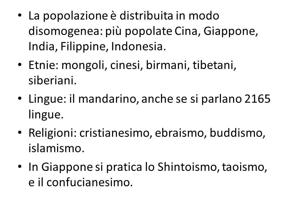 La popolazione è distribuita in modo disomogenea: più popolate Cina, Giappone, India, Filippine, Indonesia.