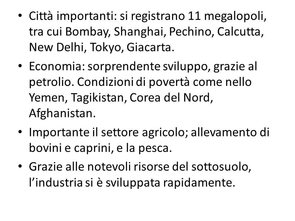Città importanti: si registrano 11 megalopoli, tra cui Bombay, Shanghai, Pechino, Calcutta, New Delhi, Tokyo, Giacarta.