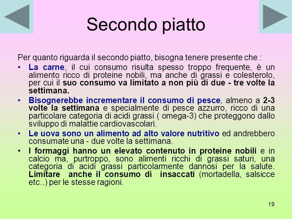 Secondo piatto Per quanto riguarda il secondo piatto, bisogna tenere presente che :