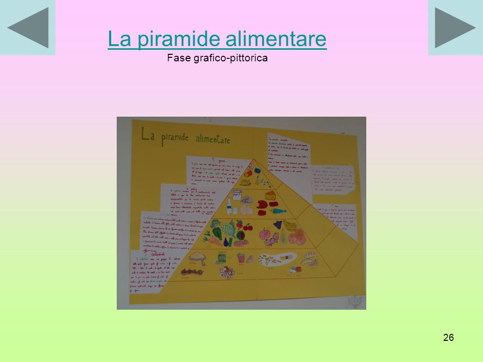 La piramide alimentare Fase grafico-pittorica