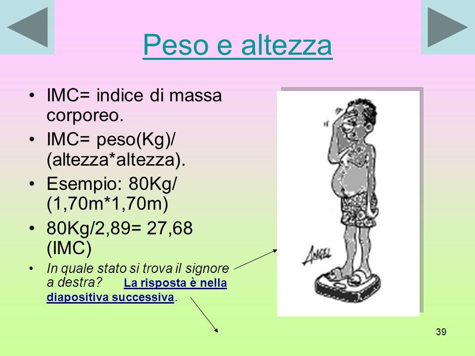 Peso e altezza IMC= indice di massa corporeo.