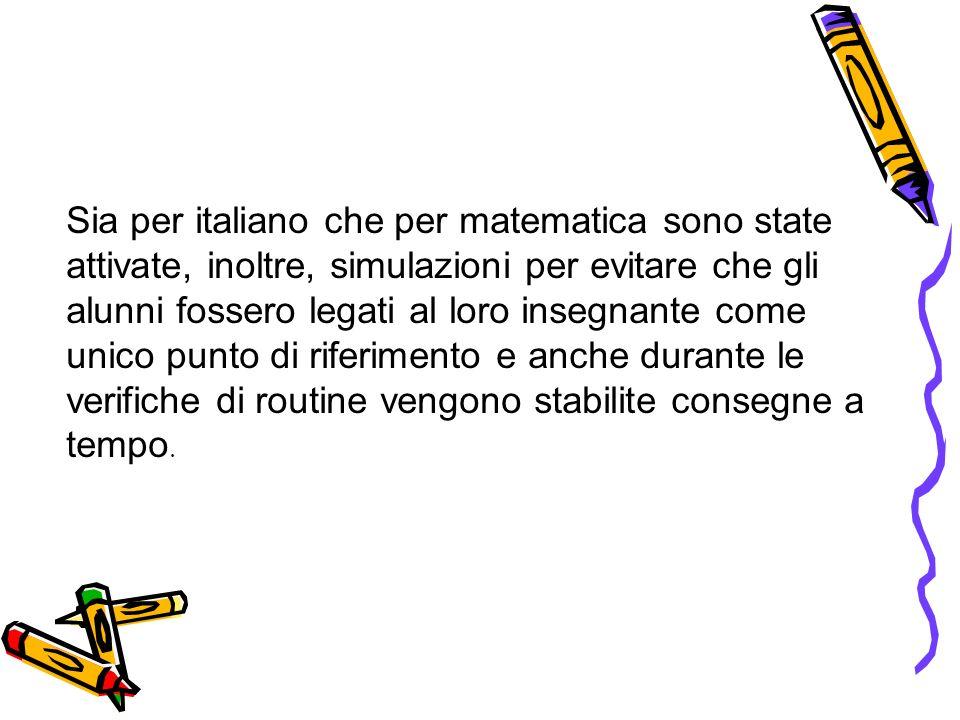 Sia per italiano che per matematica sono state attivate, inoltre, simulazioni per evitare che gli alunni fossero legati al loro insegnante come unico punto di riferimento e anche durante le verifiche di routine vengono stabilite consegne a tempo.