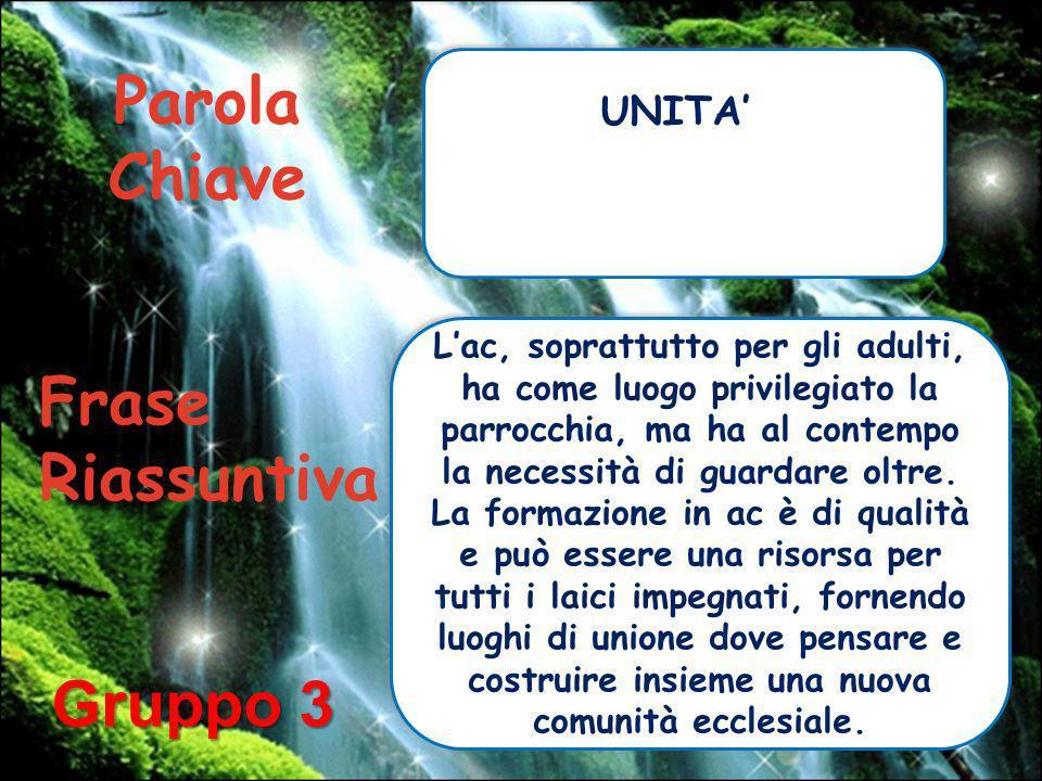 Parola Chiave Frase Riassuntiva Gruppo 3 UNITA'