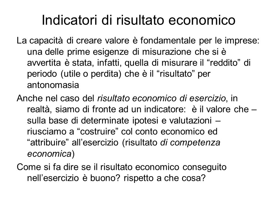 Indicatori di risultato economico