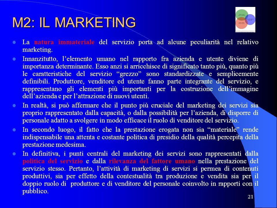 M2: IL MARKETING La natura immateriale del servizio porta ad alcune peculiarità nel relativo marketing.