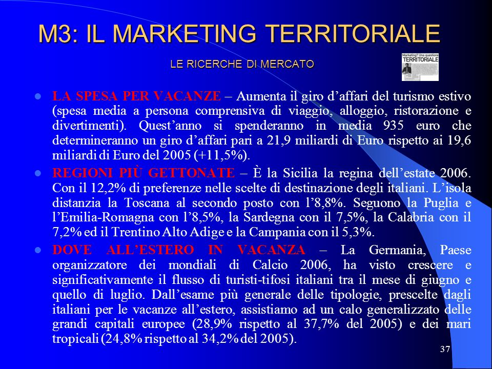 M3: IL MARKETING TERRITORIALE